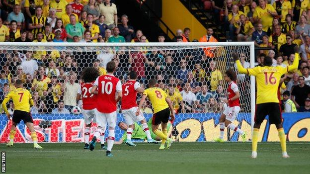 Gerard Deulofeu intercepted a pass from Sokratis Papastathopoulos to set up Tom Cleverley for Watford's first goal
