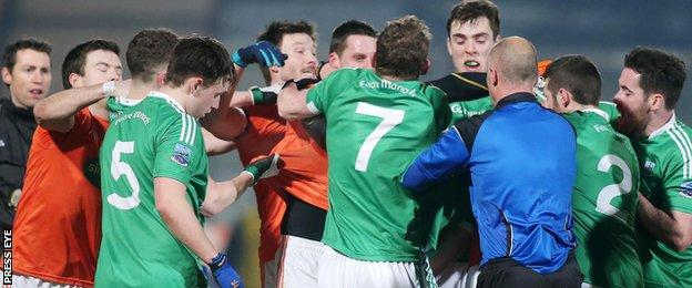 Tempers flared during the Division Two clash at the Athletic Grounds