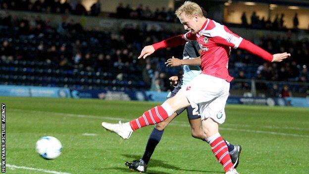 Scott Boden scores Newport's second against Wycombe