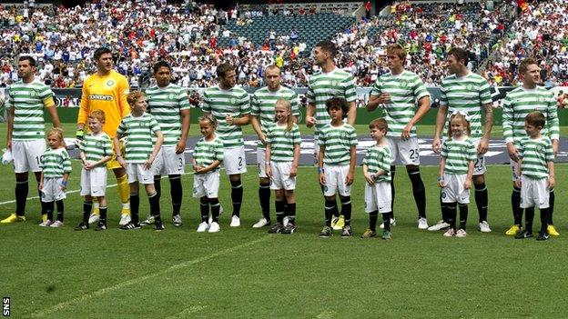 Celtic players prepare to play Real Madrid in Philadelphia in 2012