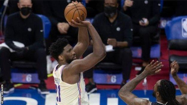 Joel Embiid shoots against the Brooklyn Nets earlier in the week