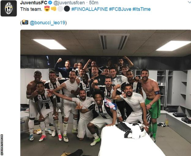 Juventus players celebrate reaching the semi-finals of the Champions League