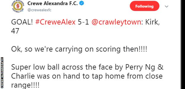 Crewe Twitter post after fifth goal