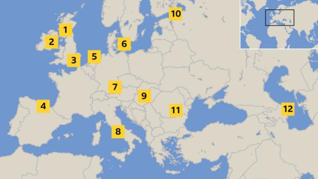 Map showing host cities for Euro 2020