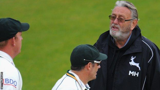 Mike Hendrick working as a bowling coach for Nottinghamshire