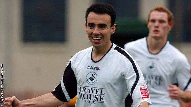 Leon Britton celebrates scoring against Newport in an FA Cup first-round game in 2006