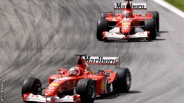 Rubens Barrichello (front) led his team-mate Michael Schumacher for the majority of the race in Austria in 2002
