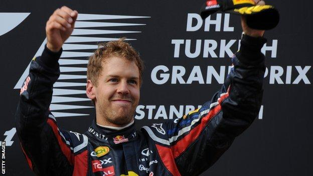 Sebastian Vettel wins the Turkish Grand Prix in 2011