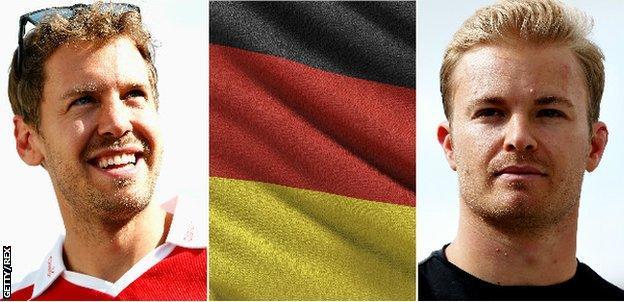 Sebastian Vettel, Nico Rosberg, German flag
