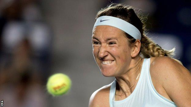 Victoria Azarenka takes a shot at the Monterrey Open