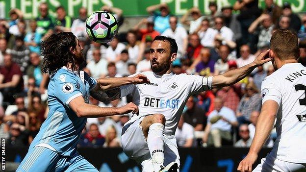 Leon Britton in action for Swansea City against Stoke City