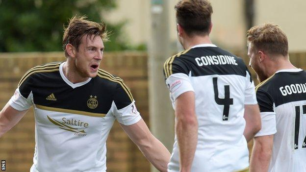 Aberdeen celebrate a goal against Motherwell
