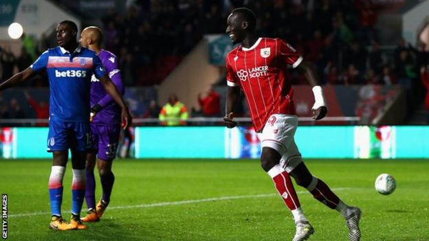 Famara Diedhiou celebrates scoring against Stoke