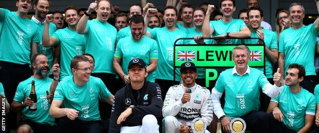 Mercedes celebrate winning their second consecutive constructors title after the Russian Grand Prix
