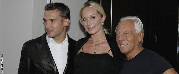 Andriy Shevchenko, Kristen Pasik and Giorgio Armani