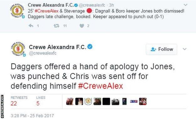 Crewe tweets