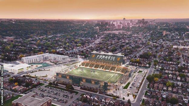 The league's first game on 27 April will be at Forge FC's 10,000-seater Tim Hortons Field stadium in Hamilton, Ontario