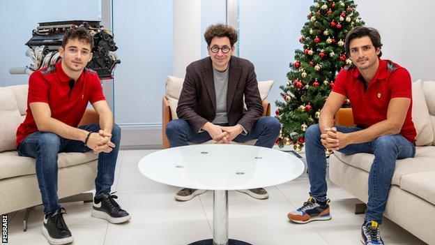 Charles Leclerc, Mattia Binotto and Carlos Sainz