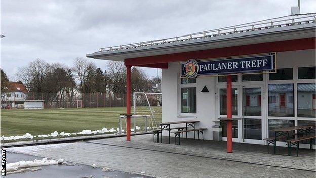 Beer garden at Bayern's training ground