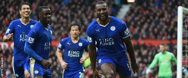 Wes Morgan celebrates his goal with his Leicester team-mates