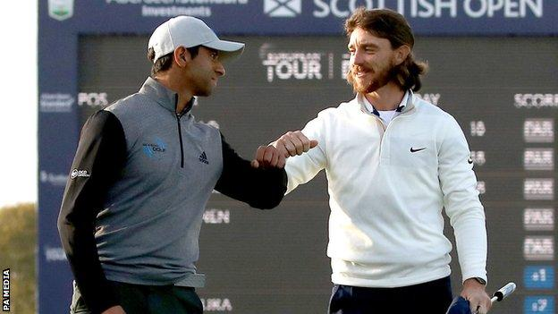Aaron Rai's par on the first play-off hole was enough to see off Tommy Fleetwood