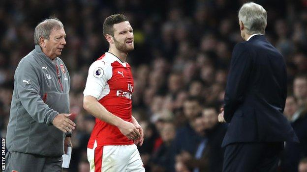 Arsenal's Shkodran Mustafi is substituted against Stoke