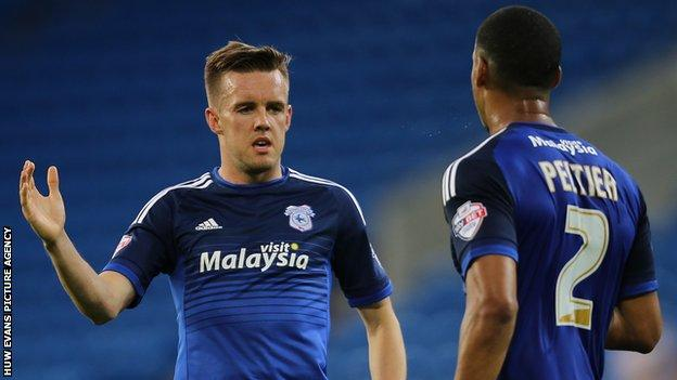 Craig Noone (left) celebrates with Lee Peltier after giving Cardiff the lead against AFC Wimbledon