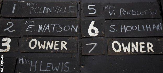 The numbers board showing Victoria Pendleton's name
