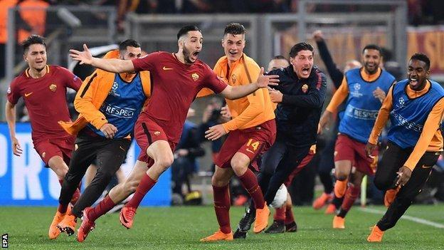 Roma players celebrate reaching their first semi-final in Europe's premier competition since 1984