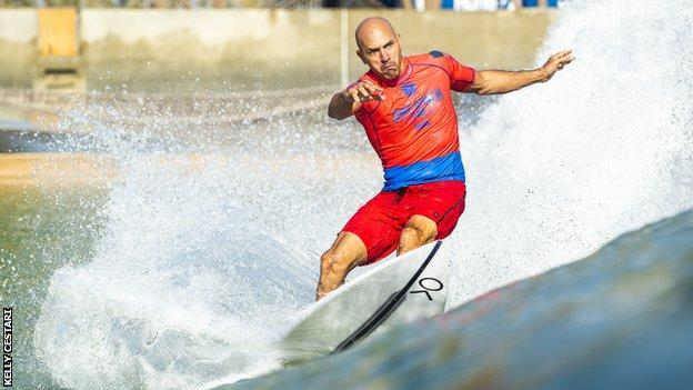 Kelly Slater competes at the Surf Ranch Pro