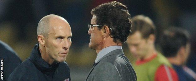 Bob Bradley (left) with Fabio Capello