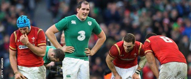 Justin Tipuric, Devin Toner, George North and Taulupe Faletau try to catch their breath