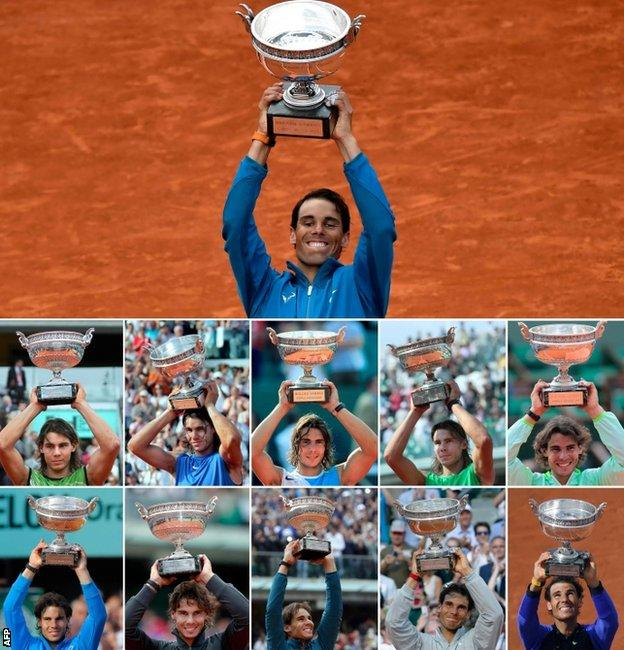 Nadal with all of his 11 French Open trophies