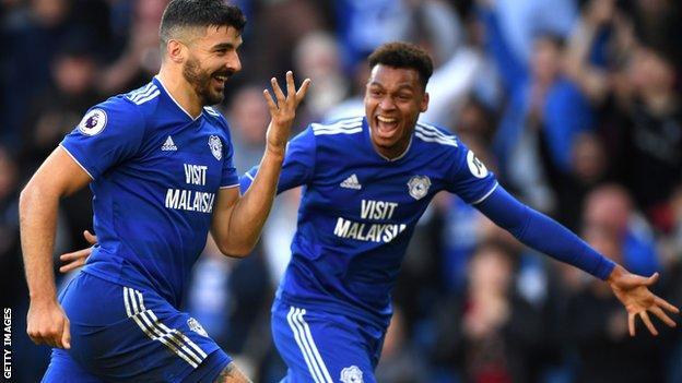 Callum Paterson celebrates scoring for Cardiff