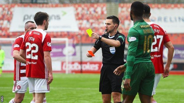 Darren Lyon is sent off