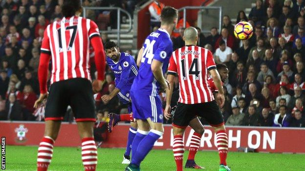Diego Costa scores for Chelsea against Southampton
