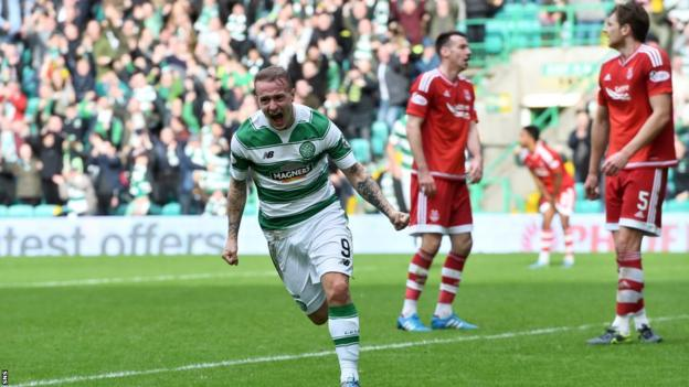 Leigh Griffiths celebrates after scoring for Celtic against Aberdeen