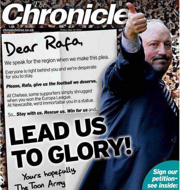 Friday's local Newcastle paper The Chronicle