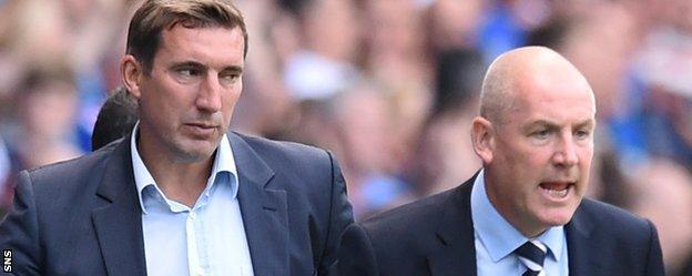 Hibernian manager Alan Stubbs and Rangers' Mark Warburton