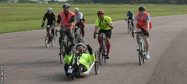 Rob Groves in training with his local cycling club, Crawley Wheelers
