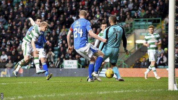 Gary Mackay-Steven scores for Celtic against St Johnstone