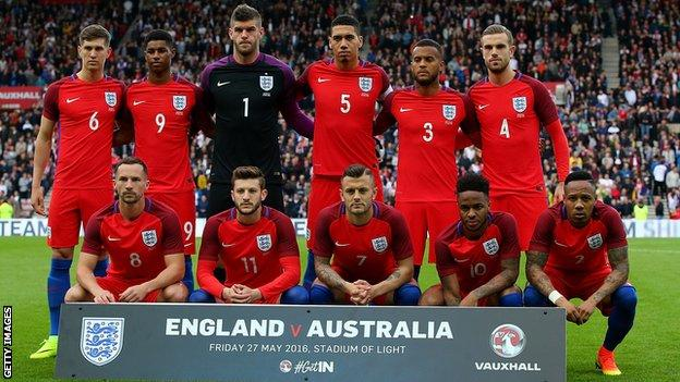 England's team which started against Australia