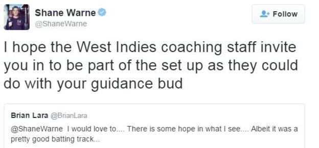 Brian Lara tweets to Shane Warne
