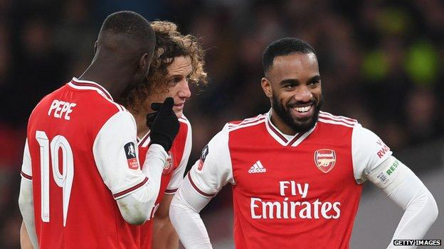 Pepe (left), Luiz (centre) and Lacazette were three of Arsenal's players who broke social distancing rules