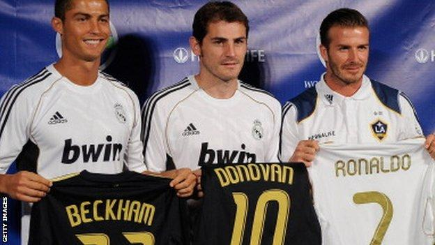 Cristiano Ronaldo (left) and David Beckham (right)
