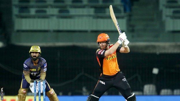 Jonny Bairstow hitting a shot for Sunrisers Hyderabad