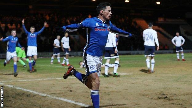 Ian Henderson celebrates his goal
