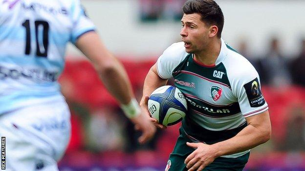 Leicester Tigers' Ben Youngs in action against Racing 92