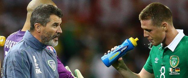 Roy Keane talks to James McCarthy during the Republic's win over Germany last October