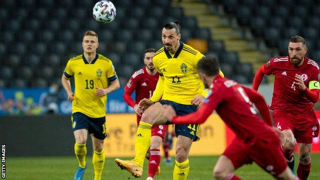 Zlatan Ibrahimovic in action against Georgia